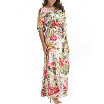Belted Floral Print Batwing Sleeve Maxi Dress - YELLOW + GREEN YELLOW / GREEN