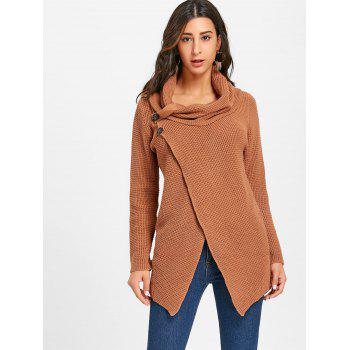 Cowl Neck Split Front Knitted Sweater - BROWN L
