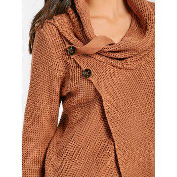 Cowl Neck Split Front Knitted Sweater - BROWN M