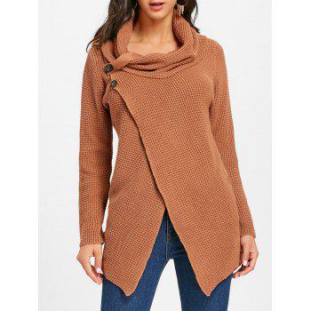 Cowl Neck Split Front Knitted Sweater - BROWN BROWN