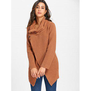 Cowl Neck Split Front Knitted Sweater - BROWN S