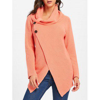 Cowl Neck Split Front Knitted Sweater - ORANGEPINK ORANGEPINK