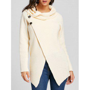 Cowl Neck Split Front Knitted Sweater - OFF-WHITE OFF WHITE