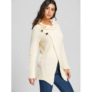 Cowl Neck Split Front Knitted Sweater - OFF WHITE M