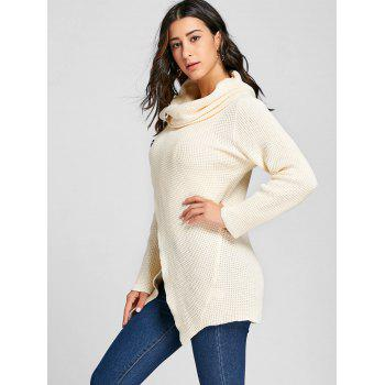 Cowl Neck Split Front Knitted Sweater - OFF WHITE XL