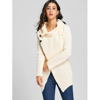 Cowl Neck Split Front Knitted Sweater - OFF WHITE OFF WHITE