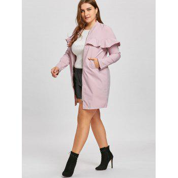 Zip Up Plus Size Ruffle Trench Coat - PINK PINK