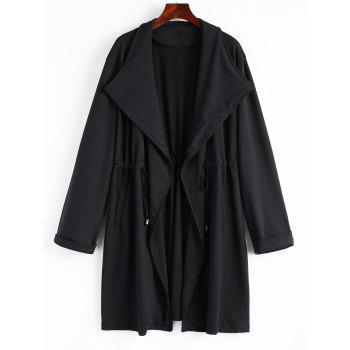 High Waist Plus Size Long Coat - BLACK BLACK