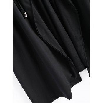 High Waist Plus Size Long Coat - BLACK 4XL