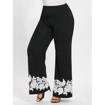 Plus Size Appliqued Floral Wide Leg Pants - BLACK BLACK