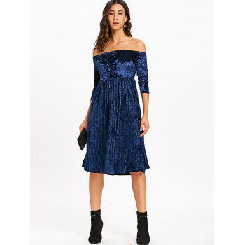 Off The Shoulder Velvet Robe plissée - Bleu S