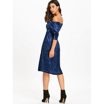 Off The Shoulder Velvet Robe plissée - Bleu M