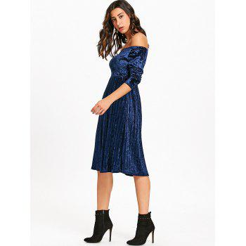 Off The Shoulder Velvet Robe plissée - Bleu XL