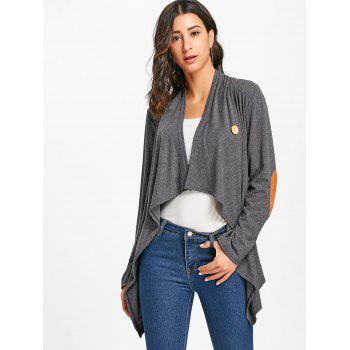 Asymmetric Elbow Patch Cardigan - GRAY GRAY