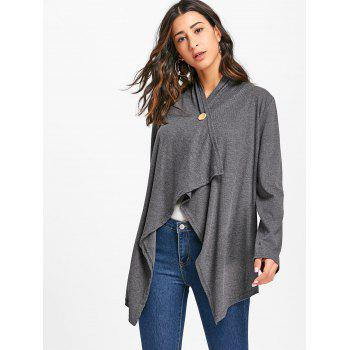 Asymmetric Elbow Patch Cardigan - GRAY S
