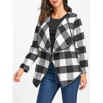 Plaid Turndown Collar Jacket - WHITE AND BLACK WHITE/BLACK