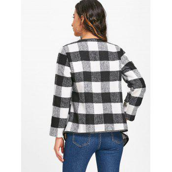 Plaid Turndown Collar Jacket - WHITE/BLACK WHITE/BLACK