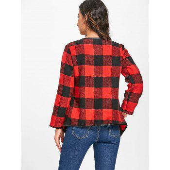 Plaid Turndown Collar Jacket - RED/BLACK L