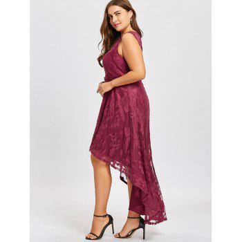 Plus Size Lace High Low Evening Dress - WINE RED XL