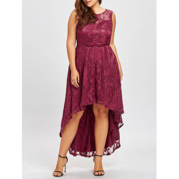 Plus Size Lace High Low Evening Dress - WINE RED WINE RED