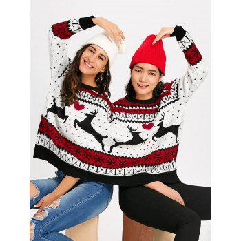 Christmas Reindeer Two Person Sweater - COLORMIX COLORMIX
