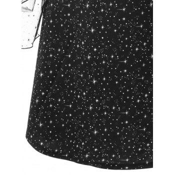 Sheer Galaxy Flare Sleeve Dress - BLACK BLACK