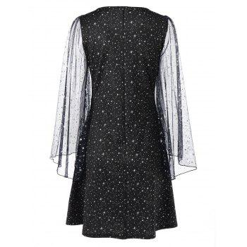 Sheer Galaxy Flare Sleeve Dress - BLACK M