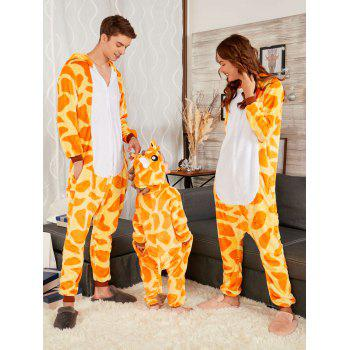 Cute Giraffe Animal Christmas Family Onesie Pajamas - YELLOW MOM M