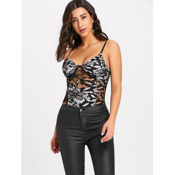Cami Strap Open Back Lace Bodysuit - BLACK L