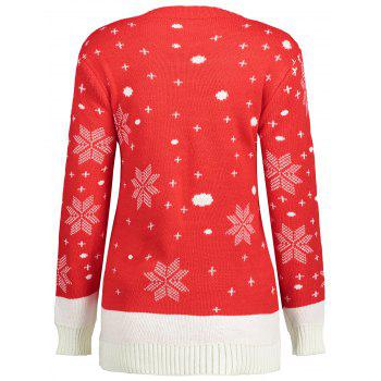 Reindeer Snowflake Ugly Christmas Sweater - RED ONE SIZE