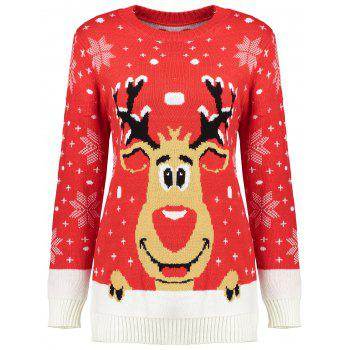 Reindeer Snowflake Ugly Christmas Sweater - RED RED