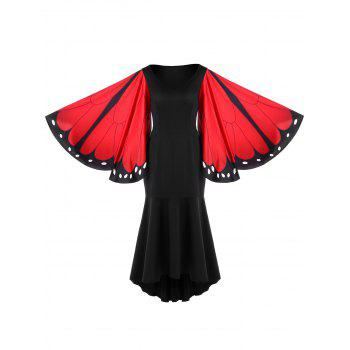 Butterfly Pattern Bell Sleeve Mermaid Dress - RED L