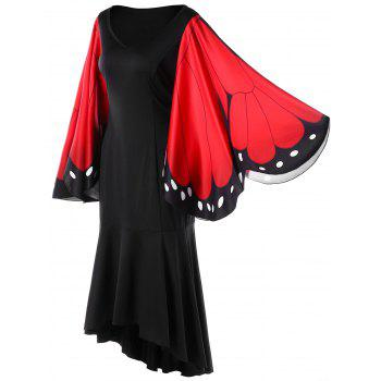 Butterfly Pattern Bell Sleeve Mermaid Dress - RED RED