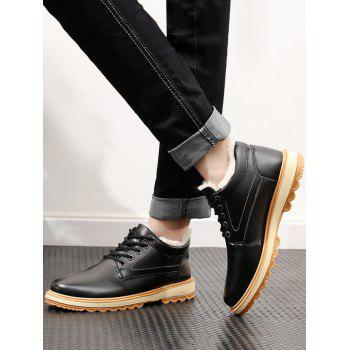 PU Leather Stitching Low Heel Casual Shoes - BLACK 41