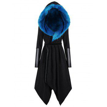 Faux Fur Panel Hooded Plus Size Asymmetric Coat