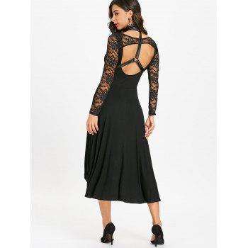 Dip Hem Open Back Dress with Choker - BLACK XL