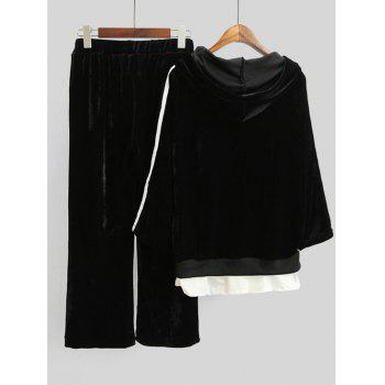 Striped Velvet Hoodie and Wide Leg Pants - BLACK M