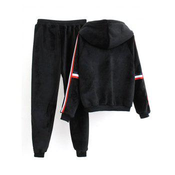 Striped Fuzzy Hoodie and Drawstring Sweatpants - BLACK L