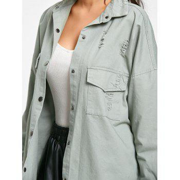 Oversized Distressed Jacket - PEA GREEN M