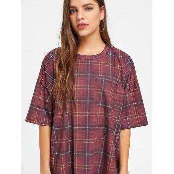 Checked Short Sleeve Shift T Shirt Dress - WINE RED M