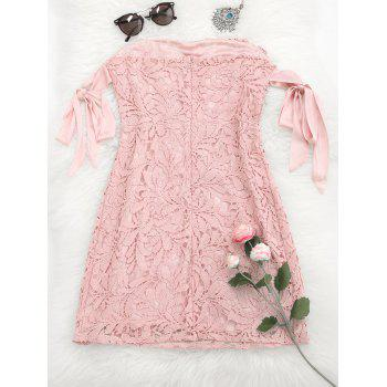 Bowknot Lace Tube Mini Dress - PINK L