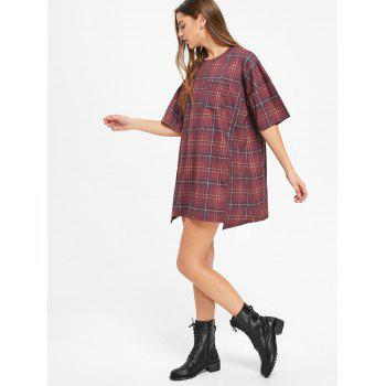 Checked Short Sleeve Shift T Shirt Dress - WINE RED S