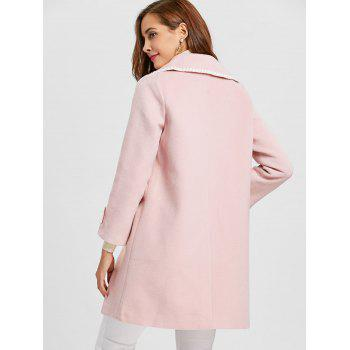 Pockets Piping Wool Blend Coat - PINK S