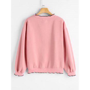 Piped Letter Embroidered Loose Sweatshirt - PINK ONE SIZE
