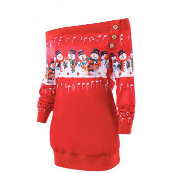 Plus Size Christmas Snowman Off The Shoulder Sweatshirt - BRIGHT RED 3XL