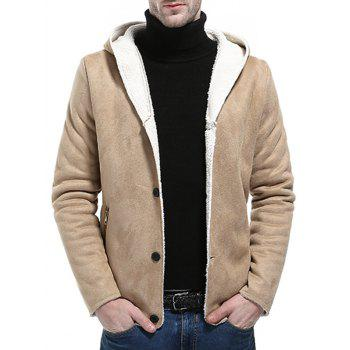 Button Up Fleece Suede Jacket - PALOMINO L