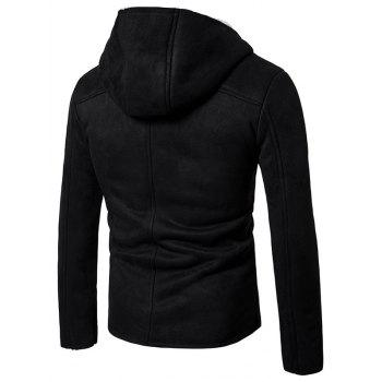 Button Up Fleece Suede Jacket - BLACK 2XL