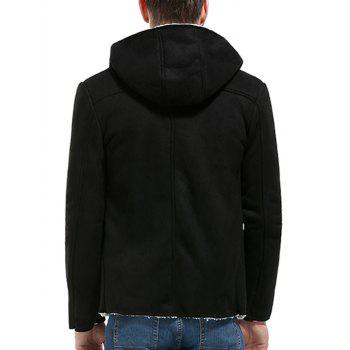 Button Up Fleece Suede Jacket - BLACK L