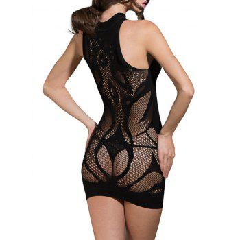 Lingerie Crew Neck Sleeveless Bodycon Dress - BLACK ONE SIZE