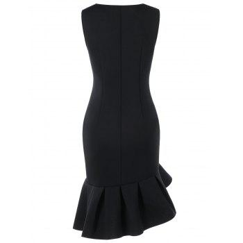 Sleeveless Flounced Mermaid Dress - BLACK L